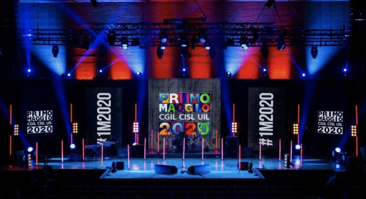 All'Auditorium Parco della Musica di Roma il palco del Primo Maggio 2020, rigorosamente senza pubblico