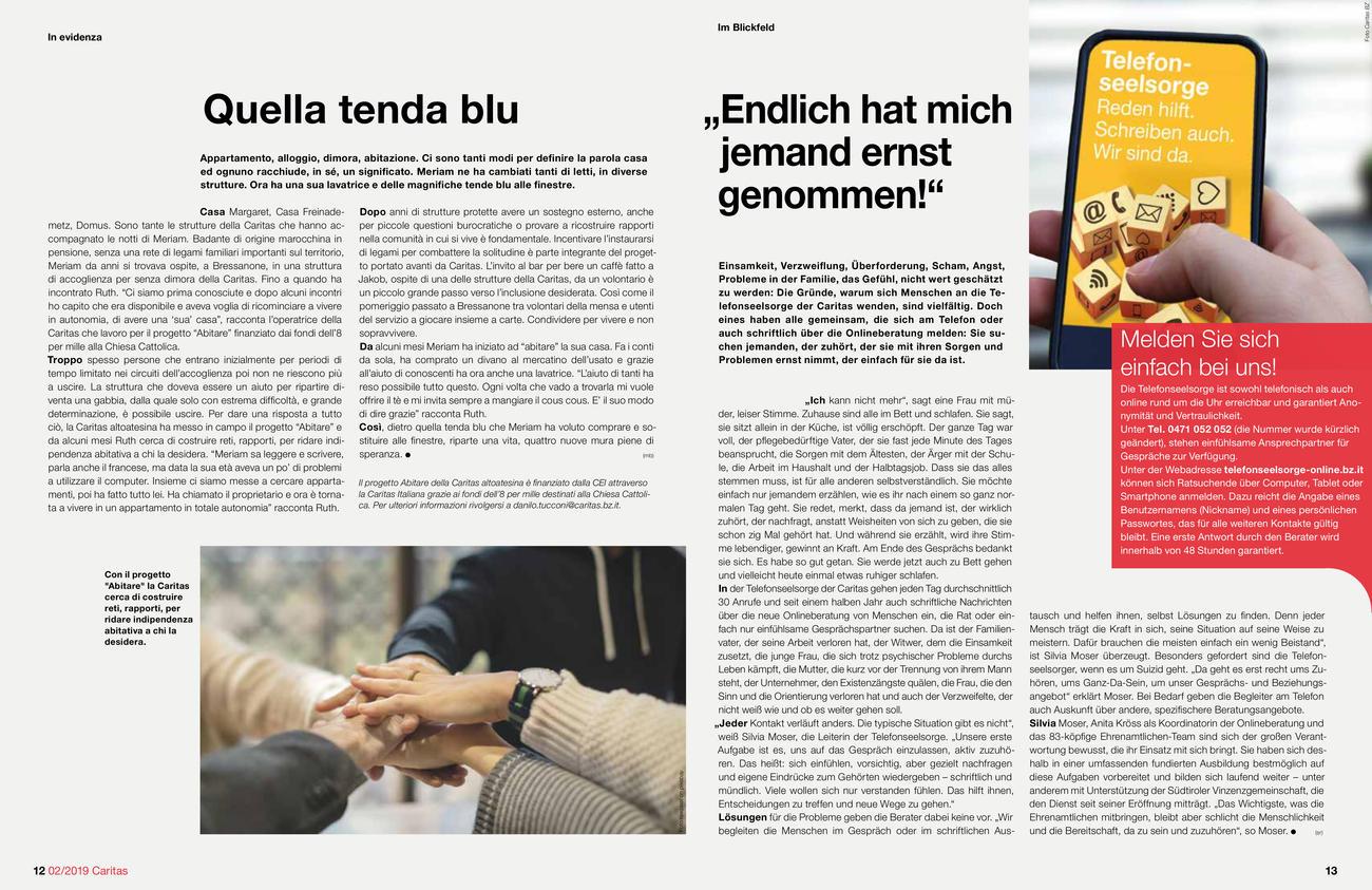 """La rivista """"Caritas"""" della Diocesi di Bolzano-Bressanone"""