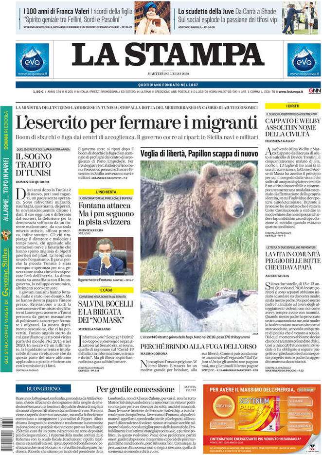 La prima pagina del quotidiano La Stampa