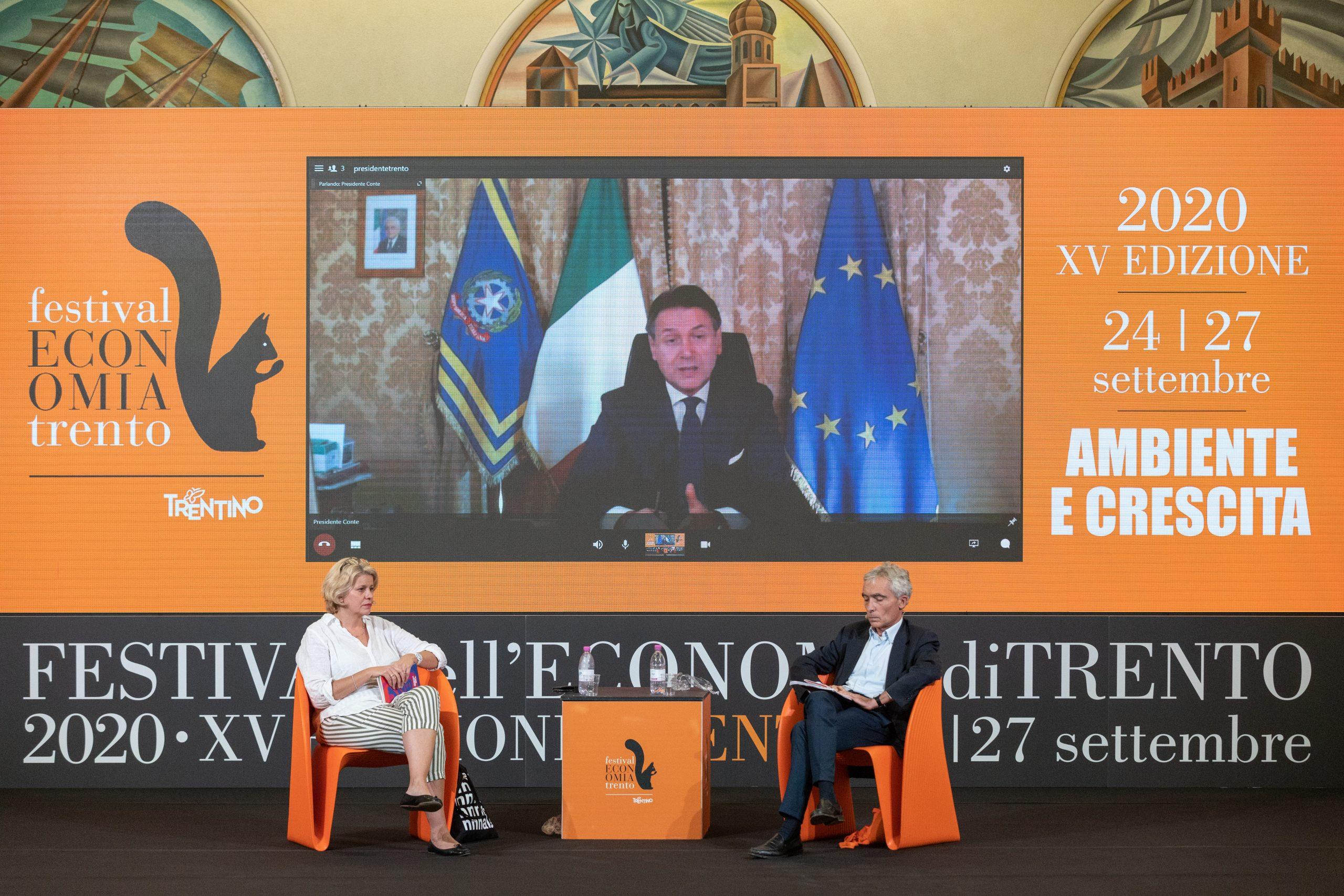 L'intervento del premier Giuseppe Conte al Festival dell'economia 2020