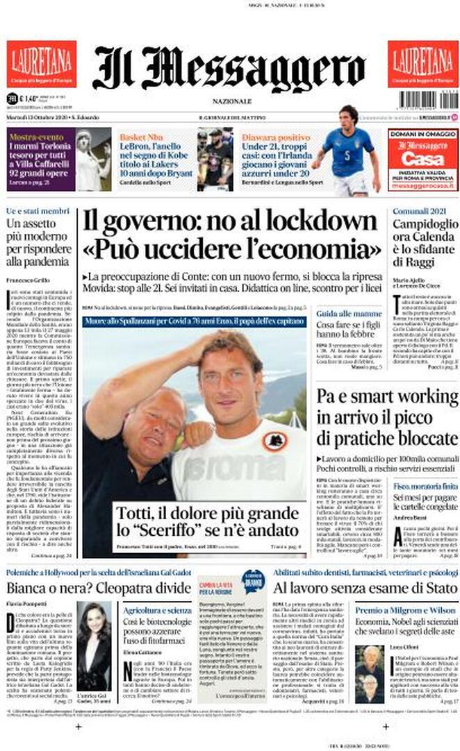La prima pagina de Il Messaggero del 13 ottobre