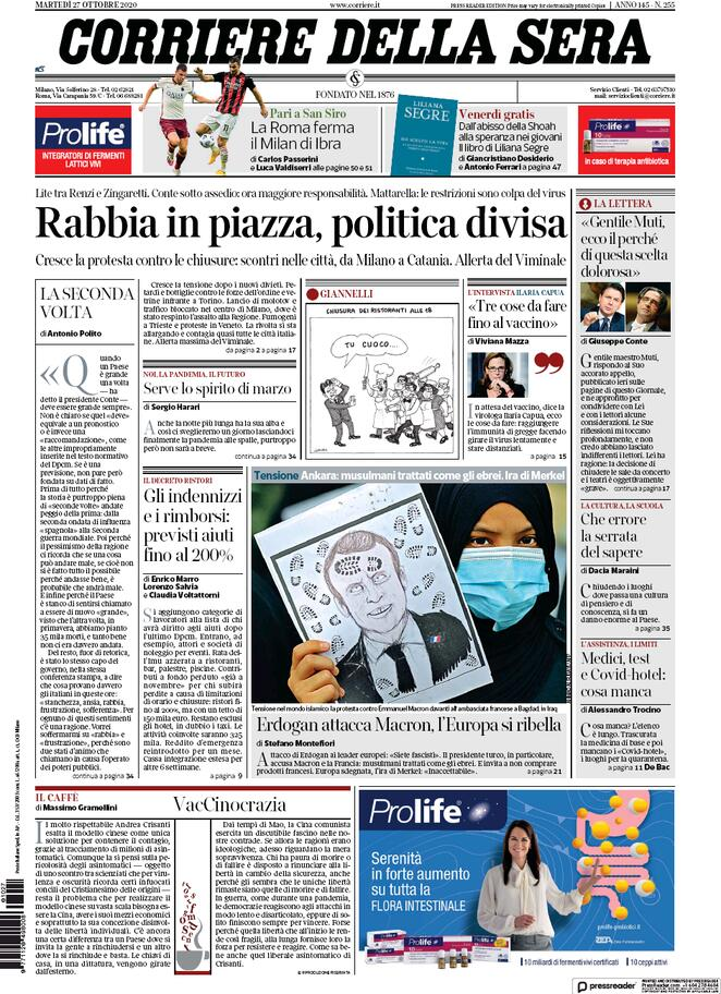 La prima pagina del Corriere della Sera del 27 ottobre