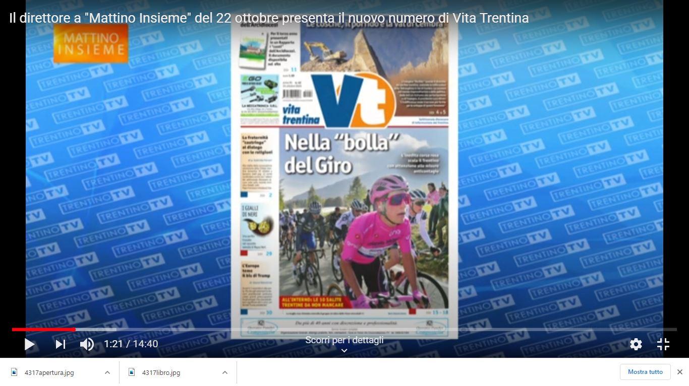 """Il direttore a """"Mattino Insieme"""" del 22 ottobre presenta il nuovo numero di Vita Trentina"""