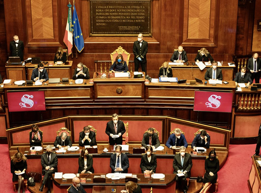Senato - 17 febbraio 2021 - Il Presidente del Consiglio, Mario Draghi, rende le comunicazioni sulle dichiarazioni programmatiche del Governo.